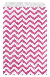 "Pink Chevron Pattern Paper Bags - 100Bags/Pack - (6"" x 9"")"