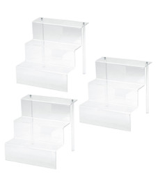 3 Set Displays of 3 Tiers Clear Acrylic Glass Riser Step Display