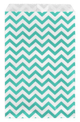 "Teal Chevron Pattern Paper Bags - 6"" x 9"" - 100Bags/Pack"