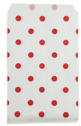 "Red Polka Dot Pattern Paper Bags - 6"" x 9"" -100Bags/Pack"