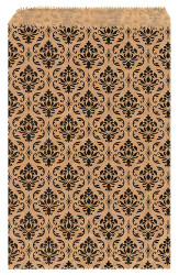 "Damask Pattern Paper Bags - 8 1/2"" x 11"" - 100Bags/Pack"