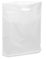 "White 15"" x 18"" x 4"" Patch Handle Bags (100 Bags/Pk)"