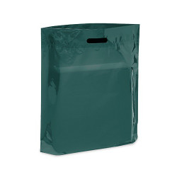 "Dark Green 15"" x 18"" x 4"" Patch Handle Bags (100 Bags/Pk)"