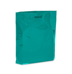 """Teal 15"""" x 18"""" x 4"""" Patch Handle Bags (100 Bags/Pk)"""