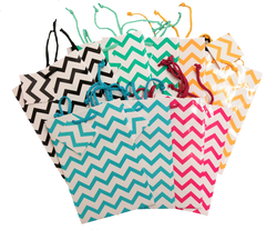 "Assorted Chevron Tote Gift Bags - 4 3/4"" x 2 1/2"" x 6 3/4""H (10Bags/Pk)"