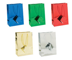 "Assorted Metallic Tote Bag - 4 3/4"" x 2 1/2"" x 6 3/4""H 10Bags/Pack"