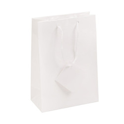 """White Glossy Solid Color Tote Bag - 8"""" x 5"""" x 10""""H (10Bags/Pack)"""