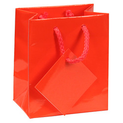 "Red Glossy Solid Color Tote Bag - 8"" x 5"" x 10""H (10Bags/Pack)"