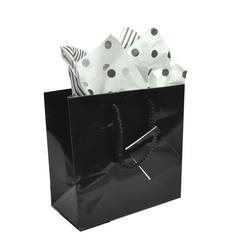 "Black Glossy Solid Color Tote Bag - 4 3/4"" x 2 1/2"" x 6 3/4""H (10Bags/Pack)"