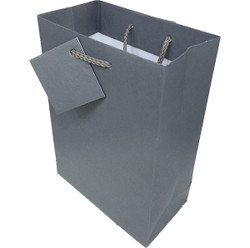 "Dark Grey Matte Finish Shopping Tote Gift Bag - 8"" x 5"" x 10""H (10Bags/Pack)"