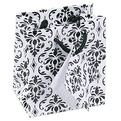 "Damask Print Glossy Tote Bag - 4"" x 2 3/4"" x 4 1/2""H (10Bags/Pack)"