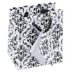 "Damask Print Glossy Tote Bag - 8"" x 5"" x 10""H (10Bags/Pack)"