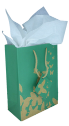 "Green Kraft Butterfly Tote Bag - 4 3/4"" x 2 1/2"" x 6 3/4""H (10Bags/Pack)"