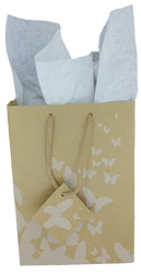 """White Butterfly Tote Bag - 4"""" x 2 3/4"""" x 4 1/2""""H (10Bags/Pack)"""