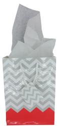 "Coral Polka Dot / Chevron Glossy Tote Gift Bag - 4"" x 2 3/4"" x 4 1/2""H (10Bags/Pack)"