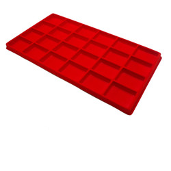 Red 24 Compartment Jewelry Flocked Tray Insert Liner