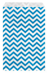 "Blue Chevron Pattern Paper Bags - 6"" x 9"" - 100Bags/Pack"