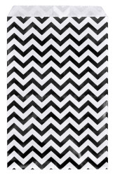 "Black Chevron Pattern Paper Bags - 6"" x 9"" - 100Bags/Pack"