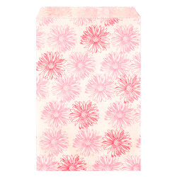 "Pink Flower Pattern Paper Bags - 5"" x 7"" - 100Bags/Pack"
