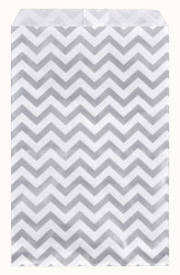 "Silver Chevron Pattern Paper Bags - 6"" x 9"" - 100Bags/Pack"
