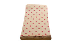 "100 Bags of 5"" x 7"" Kraft Red Polka Dots"