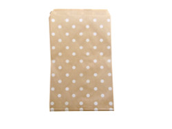 100- Bags Kraft White Polka Dot Bags