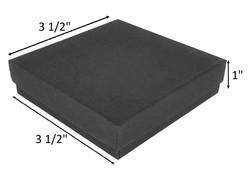 "10 Boxes-BlackMatteKraftCottonFilledBoxes-3 1/2"" x 3 1/2"" x 1""H"