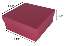 "Red Kraft Cotton Filled Boxes - 3 1/2"" x 3 1/2"" x 1 7/8""H"