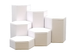 Deluxe Hexagon Shaped White Leatherette Risers Set
