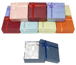 Cardboard Jewelry Bangle Gift Boxes with Rosebug Bows in Assorted Colors 3.5X3.5X1 (Pack of 12)