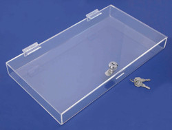 "Clear Acrylic Case with Lock - 14 5/8"" x 8 1/8"" x 1 1/2""H"