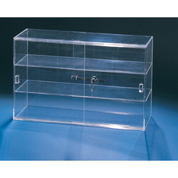 "Sliding door acrylic showcase with lock with 4"" Shelf Clearance"