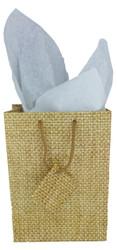 """Burlap Print Matte Tote Bag - 3"""" x 2"""" x 3 1/2""""H (10Bags/Pack)"""