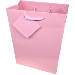 "Pink Matte Finish Shopping Tote Bag - 3"" x 2"" x 3 1/2""H (10Bags/Pack)"