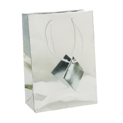 "Silver Metallic Tote Bag - 3"" x 2"" x 3 1/2""H (10Bags/Pack)"