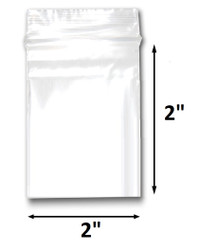"2"" x 2"" Reclosable Plastic Zipper Bags 2 Mil, Clear. (100 Bags)"