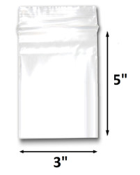 "3"" x 5"" Reclosable Plastic Zipper Bags 2 Mil, Clear. (100 Bags)"