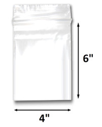 "4"" x 6"" Reclosable Plastic Zipper Bags 2 Mil, Clear. (100 Bags)"
