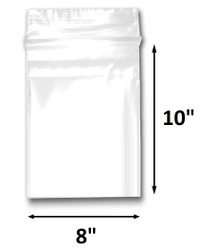 "8"" x 10"" Reclosable Plastic Zipper Bags 2 Mil, Clear. (100 Bags)"