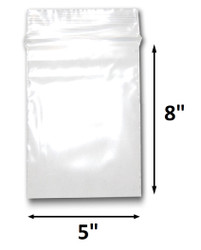 "5"" x 8"" Reclosable Plastic Zipper Bags 2 Mil, Clear. (100 Bags)"