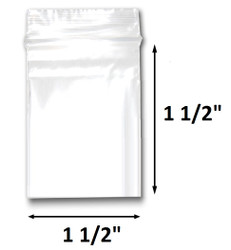 "1 1/2"" x 1 1/2"" Reclosable Plastic Zipper Bags 2 Mil, Clear. (100 Bags)"