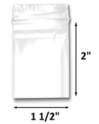 "1 1/2"" x 2"" Reclosable Plastic Zipper Bags 2 Mil, Clear. (100 Bags)"