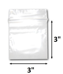 "3"" x 3"" Reclosable Plastic Zipper Bags 2 Mil, Clear. (100 Bags) (100 Bags)"
