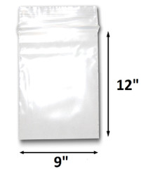 "9"" x 12"" Reclosable Plastic Zipper Bags 2 Mil, Clear. (100 Bags)"
