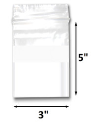 "3"" x 5"" Reclosable Plastic Zipper Bags 2 Mil, White Block center. (100 Bags)"