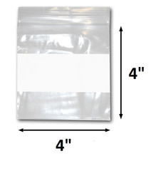 "4"" x 4"" Reclosable Plastic Zipper Bags 2 Mil, White Block center. (100 Bags)"