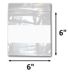 "6"" x 6"" Reclosable Plastic Zipper Bags 2 Mil, White Block center. (100 Bags)"
