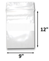 "9"" x 12"" Reclosable Plastic Zipper Bags 2 Mil, White Block center. (100 Bags)"