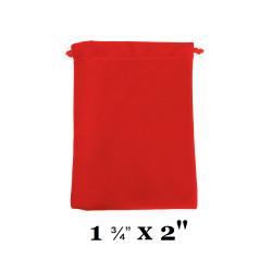 """Red Ultra-Soft Velvet Drawstring Bags - 12 Bags/Pk (1 3/4"""" x 2""""H)"""
