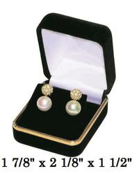 Classic Black Velvet Earring Gift Box with Brass Trim